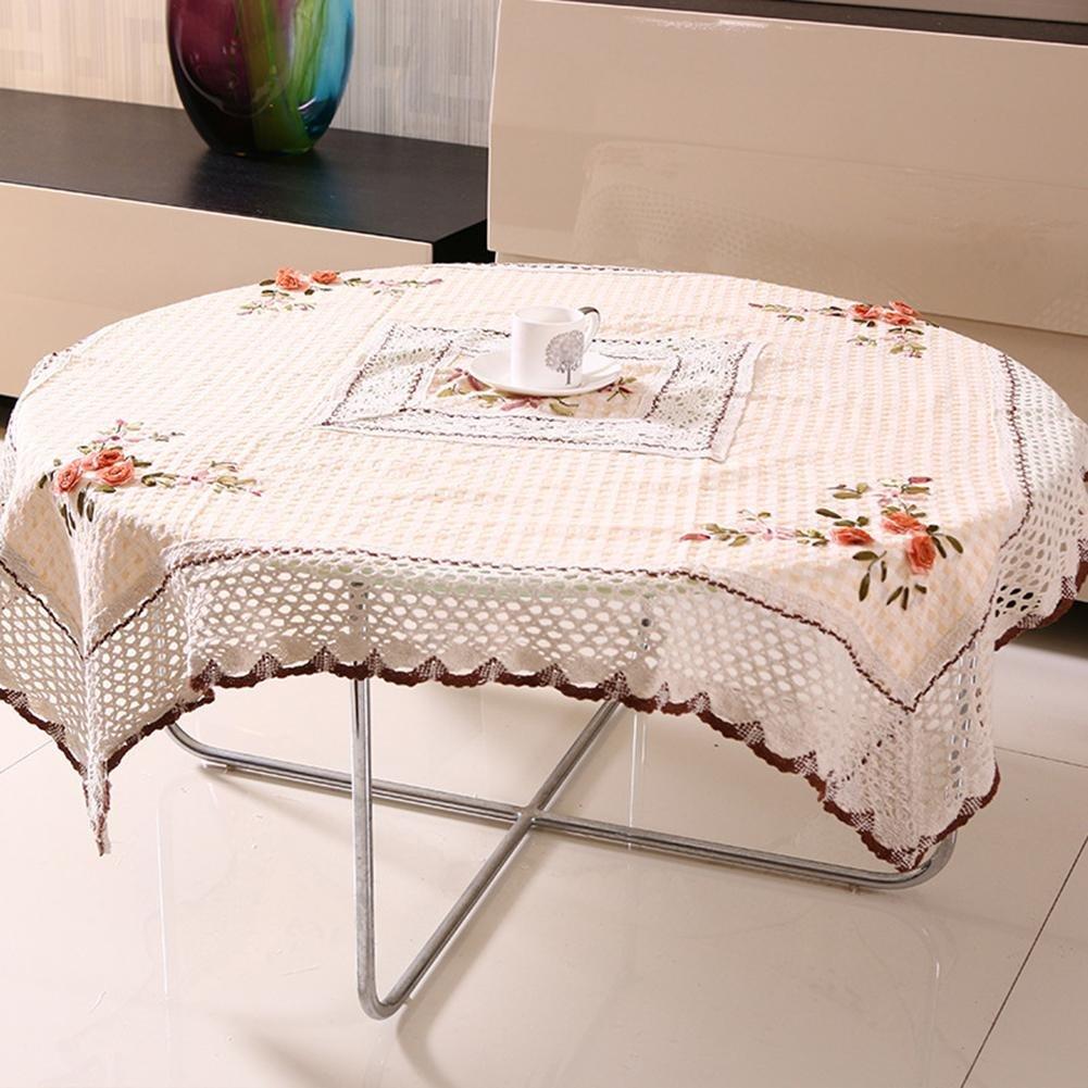 ZB Jardín llano algodón y lino slip mantel té tela cinta bordada toalla tapa mesa , 105*105cm: Amazon.es: Hogar