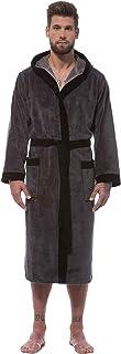 Morgenstern Premium Quality Mens Bathrobe with Hood, 47'/120 cm Long, Grey (Dark Grey)