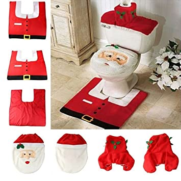 3 Pcs Christmas Festival Decorations Santa Claus Toilet Seat Cover Paper Box And
