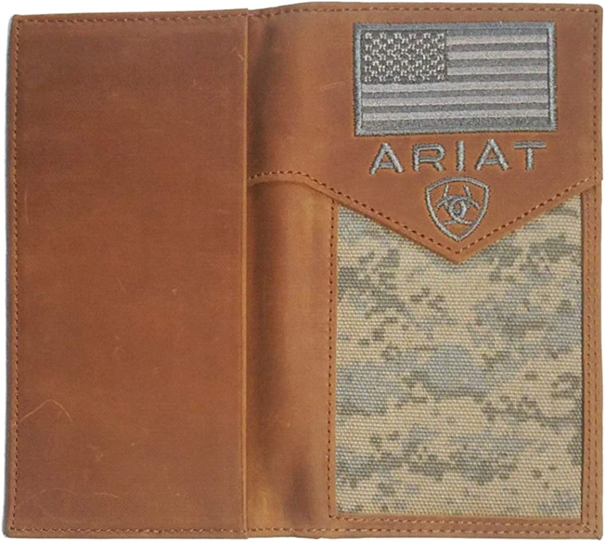 Custom Walking Liberty Half Dollar Heads and American Flag Ariat Brown Digital Camo Bi-fold wallet