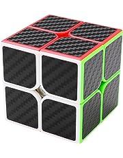Coolzon® 2x2x2 Puzzle Magic Cube Speed Cubes Twist Toys Carbon Fiber Sticker, Black