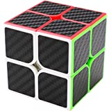 Coolzon® 2x2x2 Speed Magic Puzzle Cube Carbon Fiber Sticker Speedcubing for Kids Adults, Black