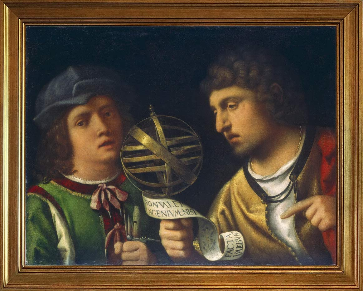 Berkin Arts Classic Framed Giorgione Giclee Canvas Print Paintings Poster Home Decor Reproduction(Giovanni Borgherini and His Tutor) #JK