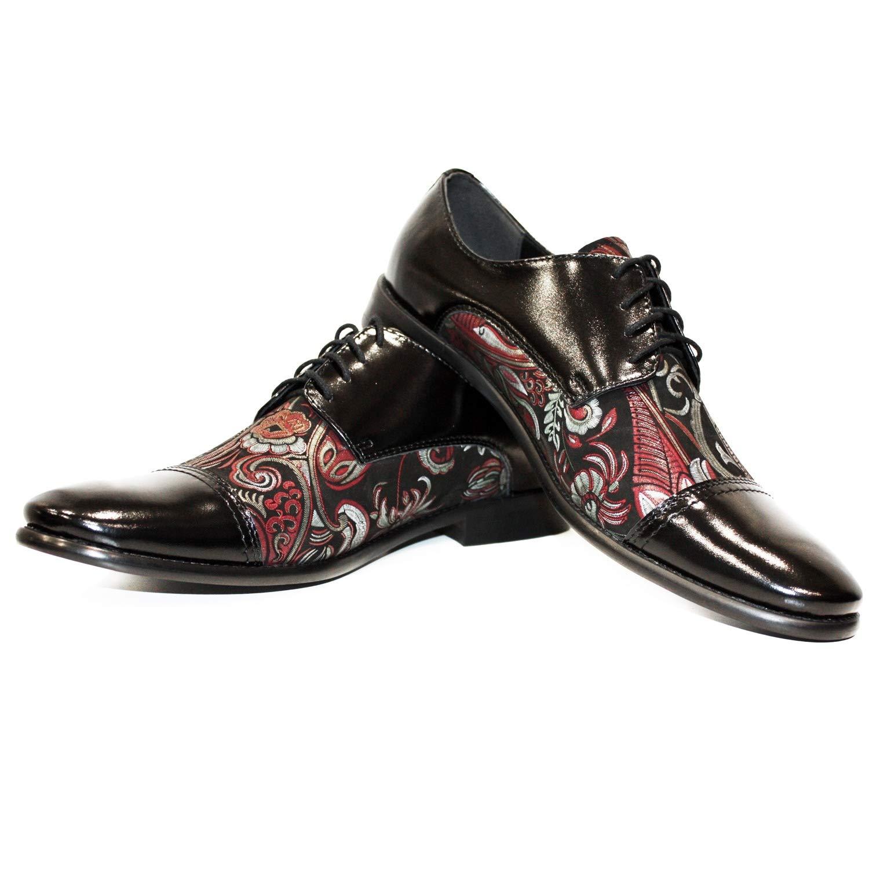 Modello Shazzino Herren - Handgemachtes Italienisch Leder Herren Shazzino Bunt Oxfords Abendschuhe Schnürhalbschuhe - Rindsleder Lackleder - Schnüren - 484b9b