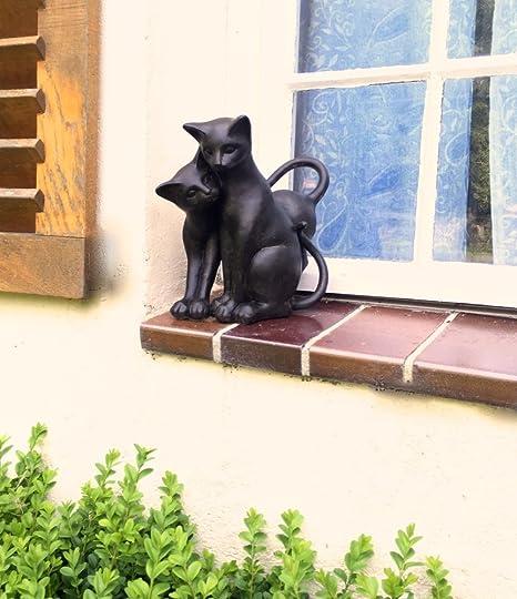 Antikas - 2 gatos como decoración en la ventana puerta de casa o jardín - 2