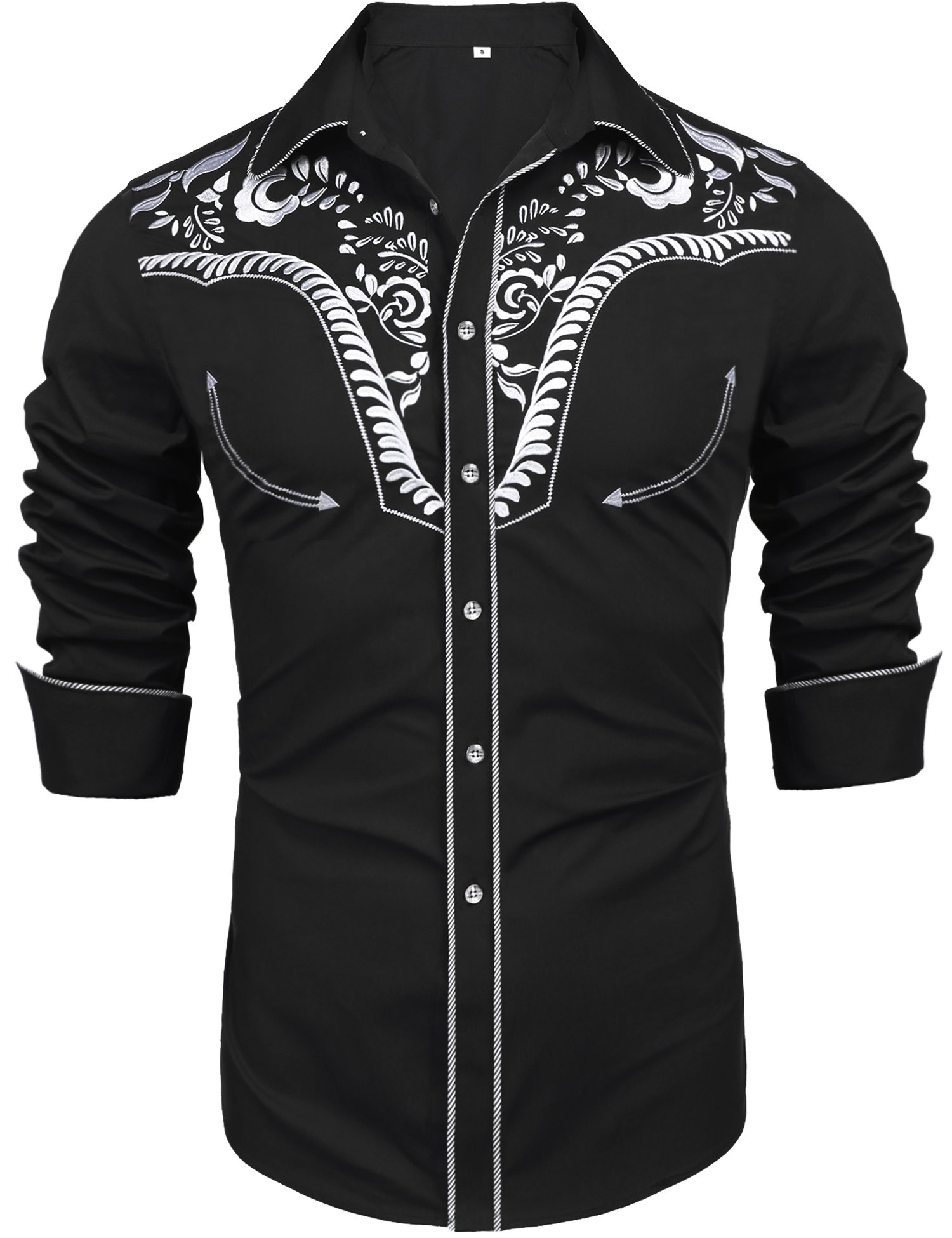Daupanzees Men's Long Sleeve Embroidered Shirt Vibrant Floral Slim Fit Big and Tall Casual Button Down Shirts(Black XXL)