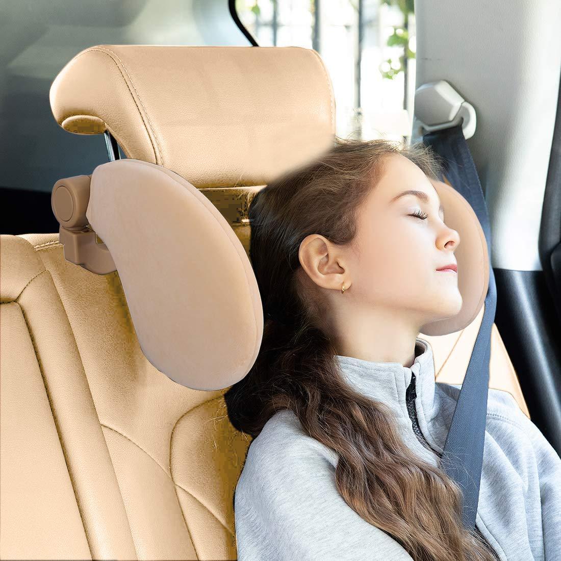 U-shaped Design Car Seat Pillow Headrest Neck Support Head Restraint Travel Sleeping Cushion with Memory Foam for Adult Kids Coriver PU Car Headrest Cushion