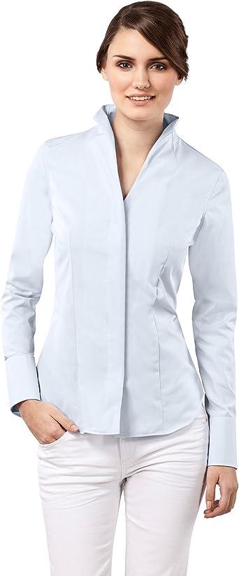Vincenzo Boretti Camisa de Mujer Elegante y clásica, Ligeramente más angosta (Modern-fit), 100% algodón, Manga-Larga, Cuello cáliz, Lisa - no Necesita Plancha: Amazon.es: Ropa y accesorios