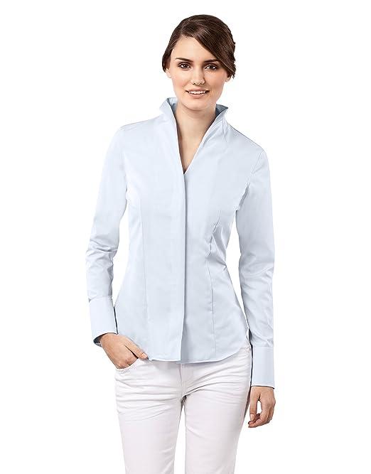 3f7eebf53029 Vincenzo Boretti Camisa de Mujer Elegante y clásica, Ligeramente más  angosta (Modern-fit), 100% algodón, Manga-Larga, Cuello cáliz, Lisa - no  Necesita ...