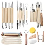 TOOHXL 35 PCS Clay Sculpting Tools Pottery Carving Tool Set - Includes Clay Color Shapers, Modeling Tools & Wooden Sculpture Knife