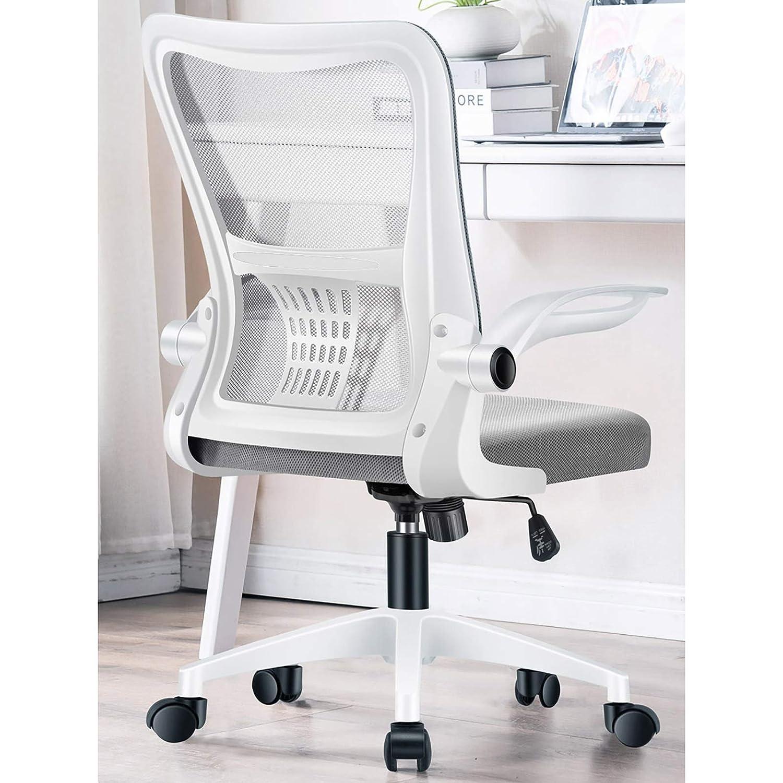 Lwjjby justerbar mesh kontorsstol, med bekväm latex kudde skrivbordsstol, för kontor dator skrivbord stol ergonomisk svängbar stol (färg: svart) Svart