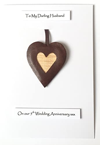 5th Wedding Anniversary Leather Heart Gift Card Wood Anniversary