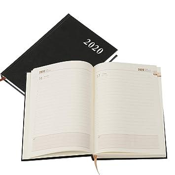 Kesote A5 Agenda 2020 Semana Vista Agenda 2020 Diaria con Tapa Dura, 12 Meses, Páginas en Líneas, 160 Páginas, Negro