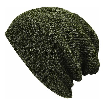 PIXNOR Hombres Cálido Invierno de punto de esquí Beanie Hat (verde militar) 236fef18fb4