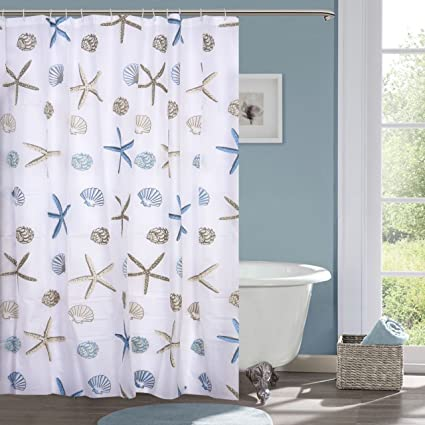 Ininsight Solutions PVC Printed 6ft Bathroom Shower Curtain With 12 Hooks    Multicolour