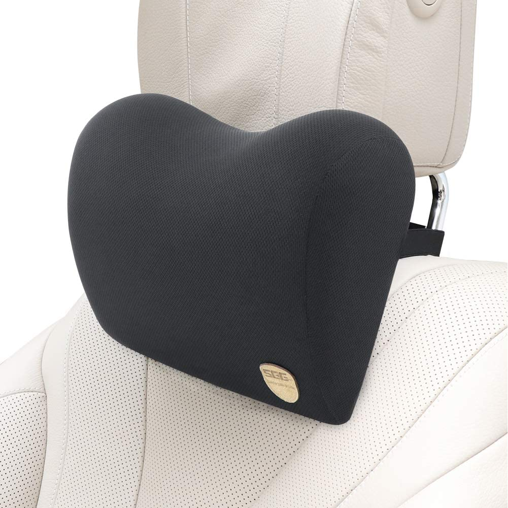 Beige Aurelius Memory Foam Car Neck Pillow with Adjustable Strap,Cervical Round Roll Headrest Support Pillow for Office Chair