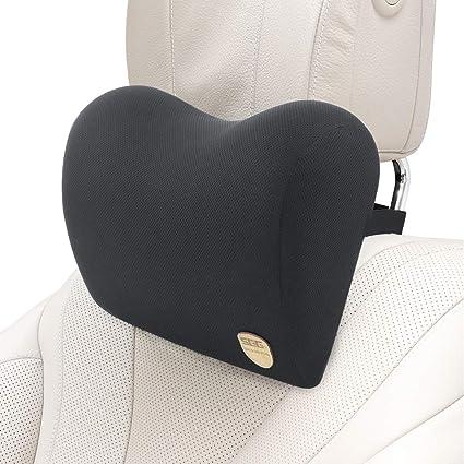 SEG Direct Almohada de Cuello para el Coche Hecha de Suave Espuma de Memoria con Correa Ajustable para el Asiento del Coche, Cojín Cómodo para Viajar, ...