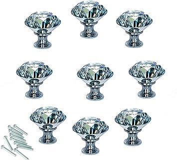 manija de armario,para armario,caj/ón,puerta,gabinete,tocador Pomos de caj/ón de cristal,4 piezas tirador de gabinete de diamante pomos de puerta de cristal transparente,pomo de caj/ón de gabinete