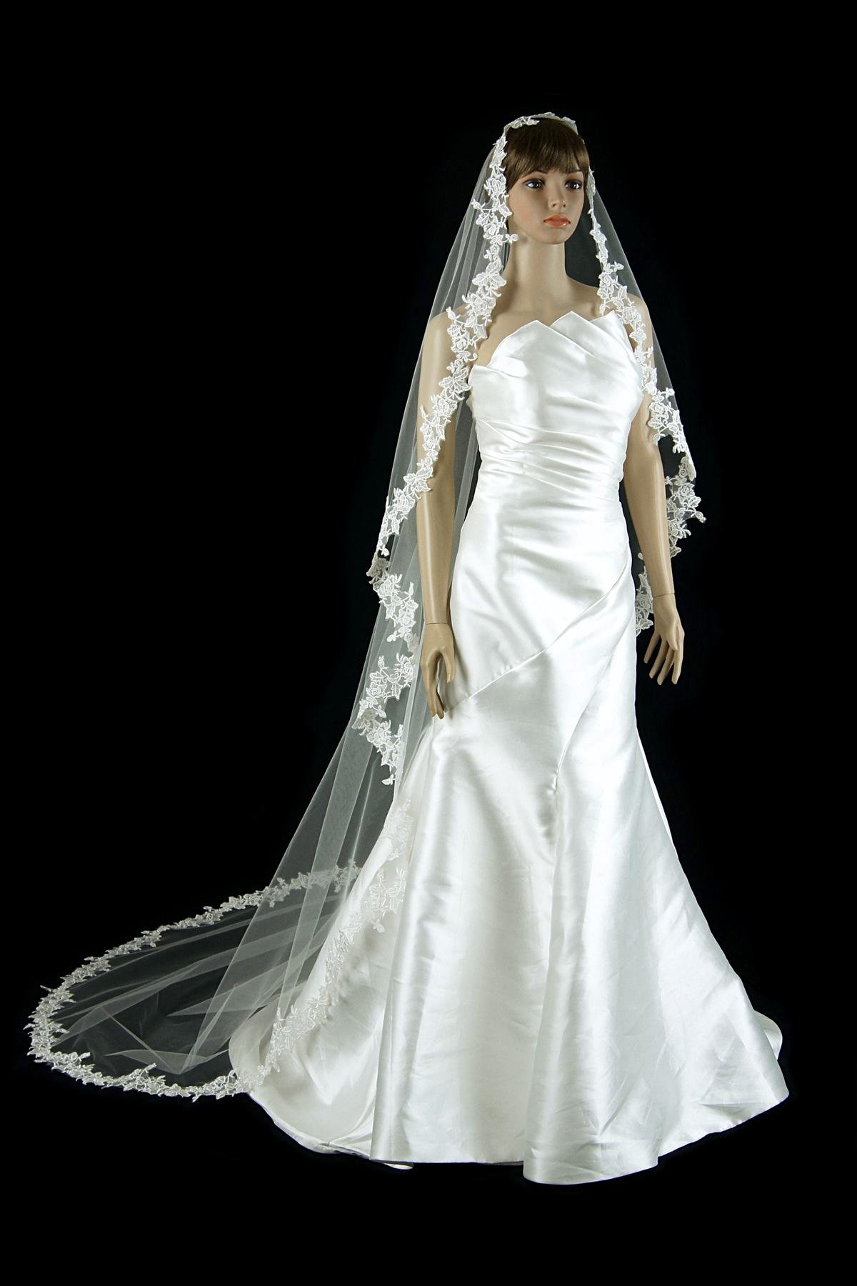 Bridal Mantilla Veil Ivory 1 Tier Long Cathedral Length With Simple Lace Edge by Velvet Bridal (Image #2)