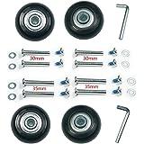 4車輪静音シリーズ用交換タイヤキット スーツケース, ショッピングカート, キャリーボックスなどの車輪補修用 キャスター取替え DIY 修理 交換 (車輪40×6×18mm車軸30,35mm)