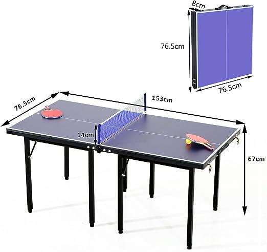 HOMCOM Mesa Ping Pong Plegable 153x76.5x67cm + Red Tenis Mesa ...