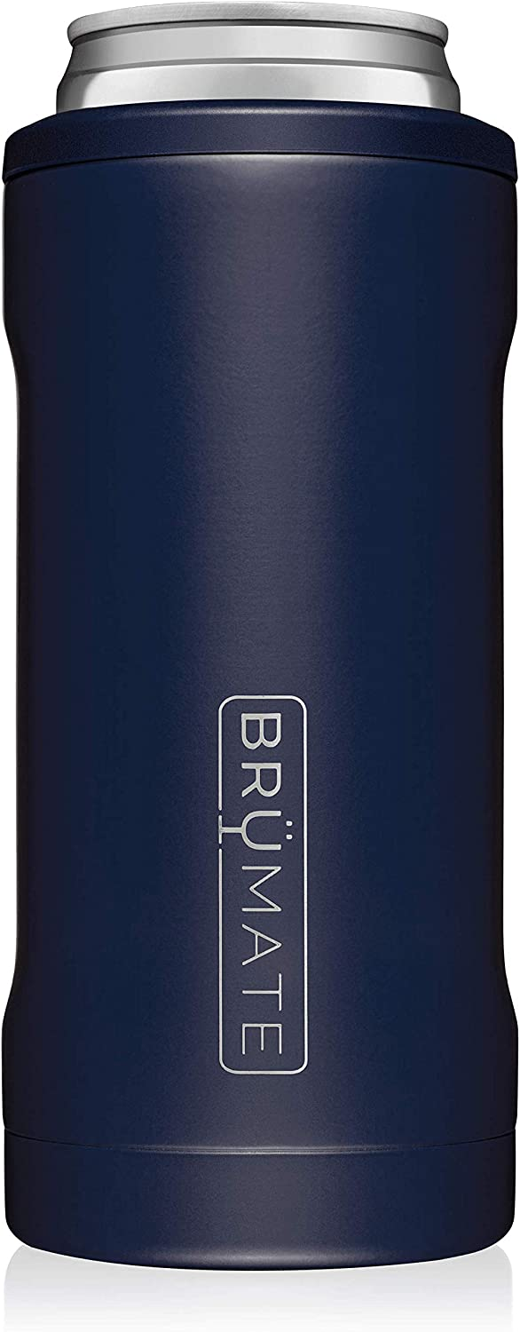 BrüMate Hopsulator Slim Double-walled Stainless Steel Insulated Can Cooler for 12 Oz Slim Cans (Matte Navy): Kitchen & Dining