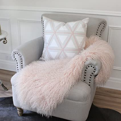 7190a54965 Image Unavailable. Image not available for. Color  Pink Mongolian Tibetan  Sheepskin Lambskin single hide pelt Curly Fur Throw rug