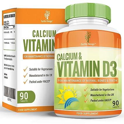 Suplemento de Calcio y Vitamina D3-500mg Calcio - Huesos Fuertes y Dientes Sanos -