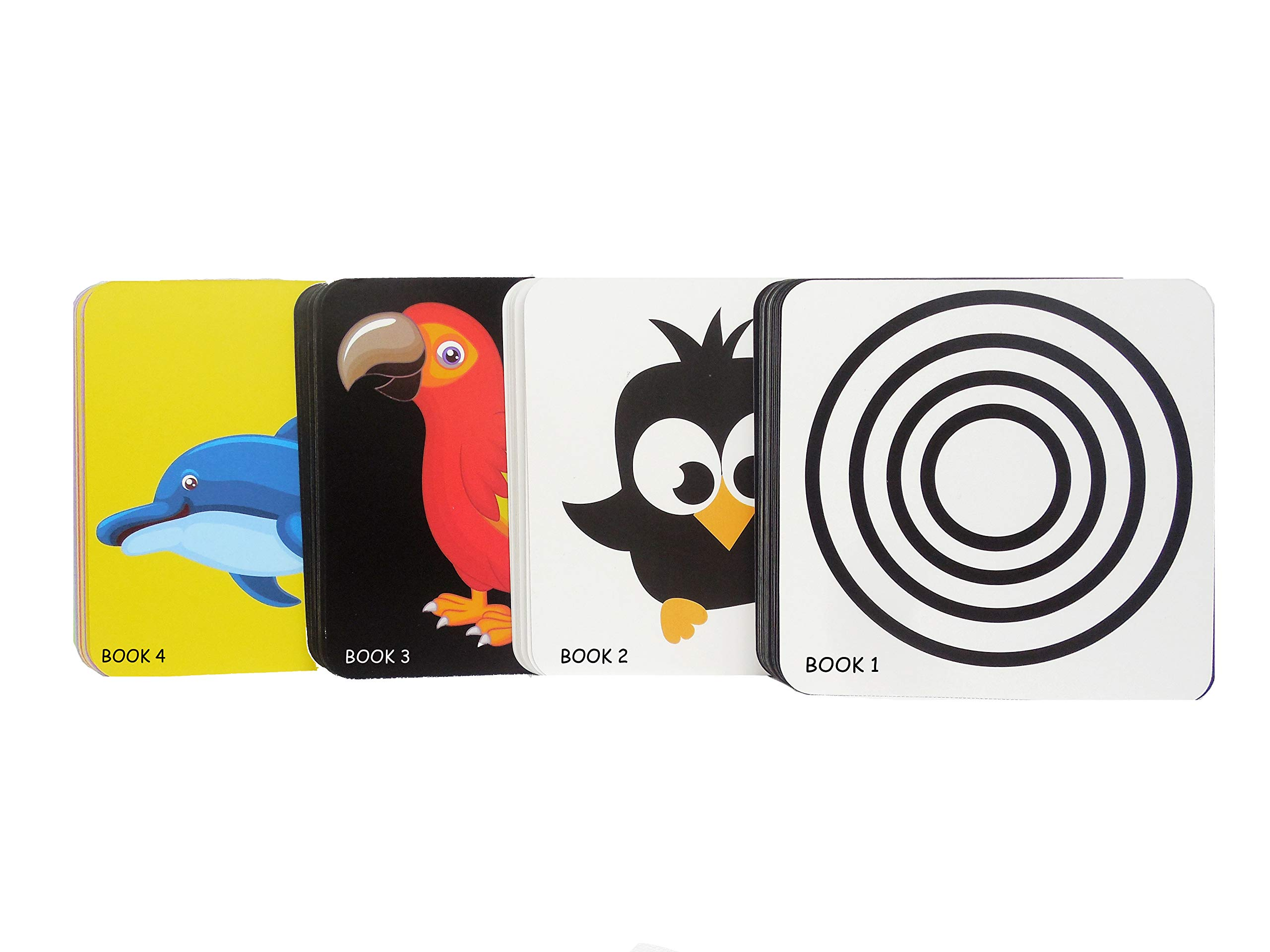 Black White Flash Cards for Baby Set of 4 - Black White And Color High Contrast Flash Cards,72 Cards of 144 pictures-0 To 24 Months