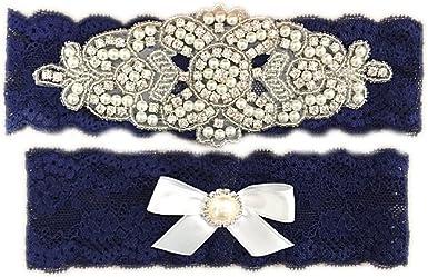Burgundy Navy Blue Minnie Mickey Mouse Bridal Garter Set Rhinestone Wedding Stretch Lace Plus Size Chiffon Fabric Flower Lace Garter