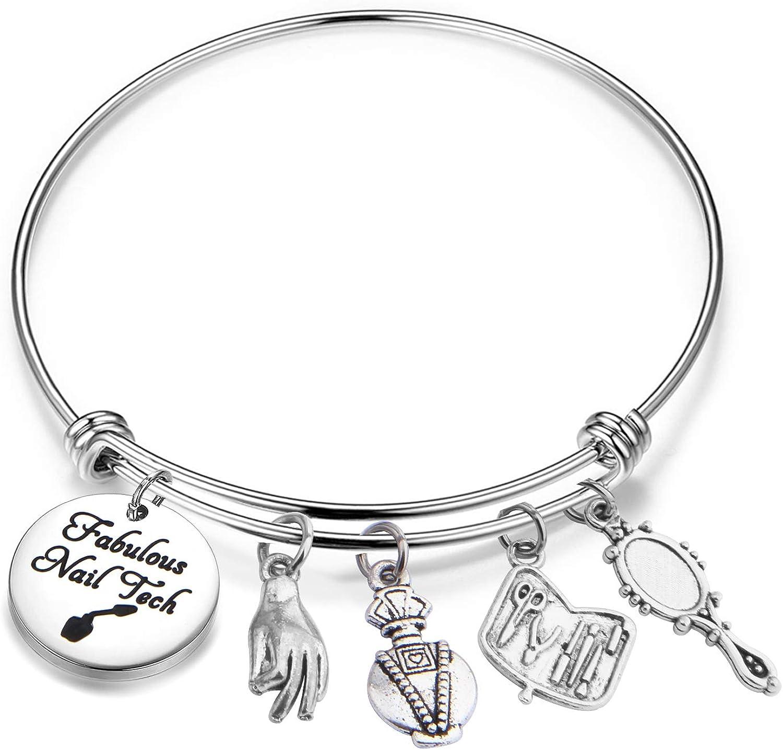 Lywjyb Birdgot Nail Tech Gift Nail Artist Gift Beautician Gift Nail Tech Charm Bracelet Manicurist Gift Manicurist Graduation Gift Nail Technician Jewelry