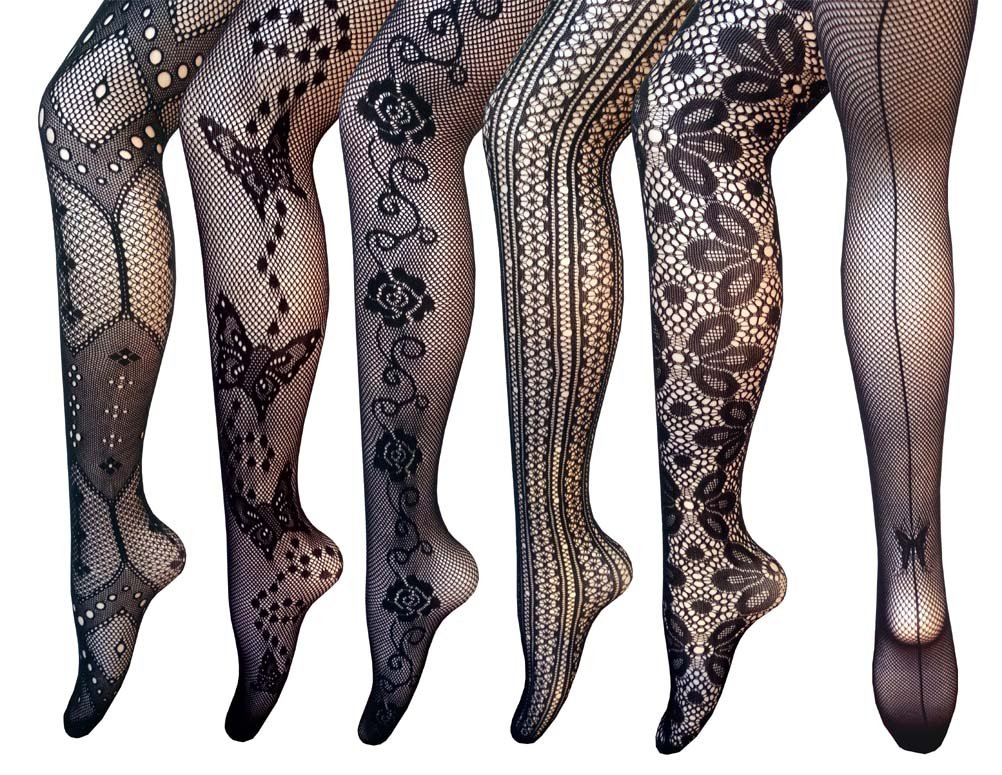 Searchself Fishnet Stockings Lace Nylons Pantyhose Tights (Pack of 6) (E)
