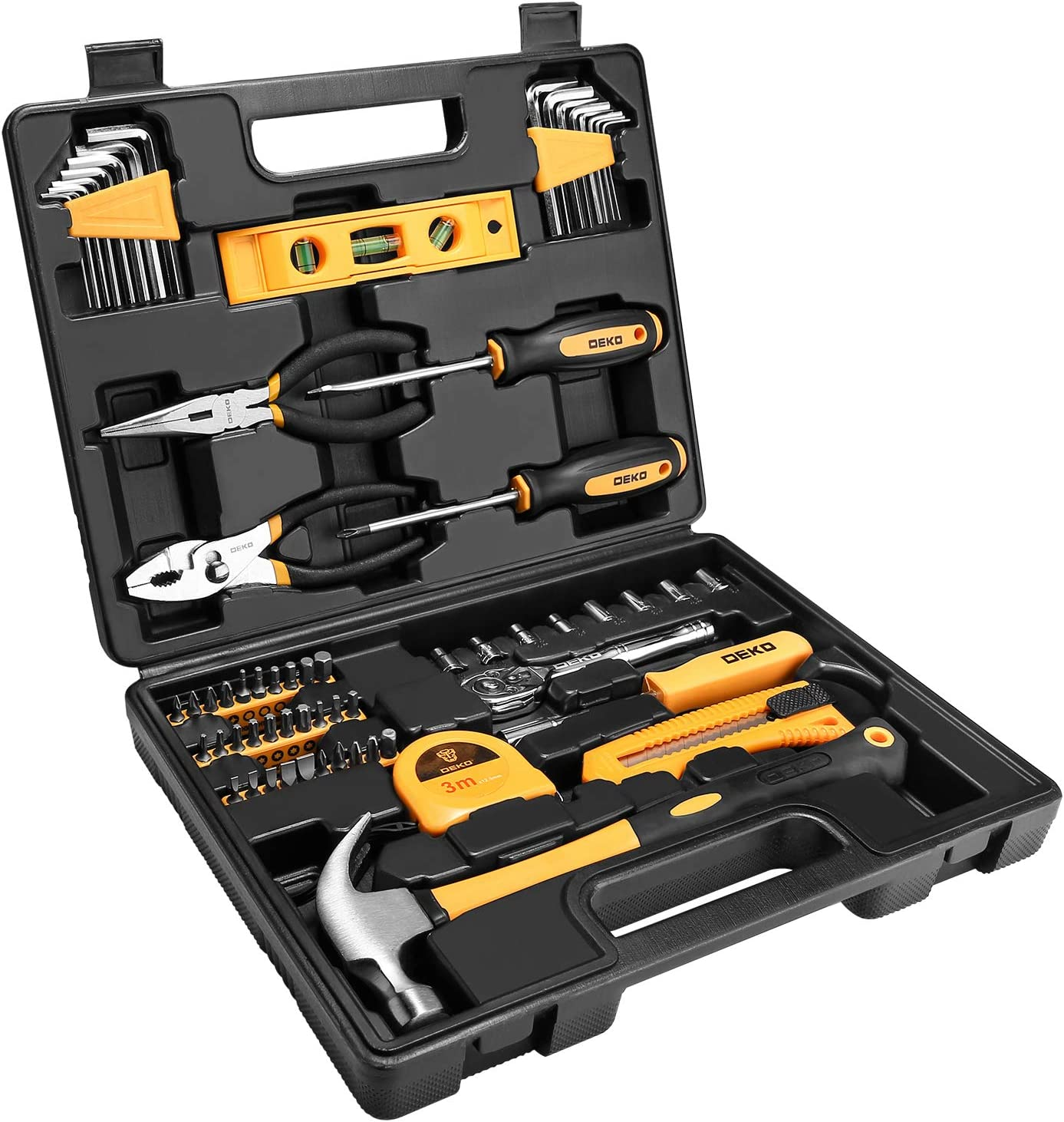 DEKOPRO 65 Piece Tool Set General Household Hand Tool Kit with Plastic ToolBox Storage Case