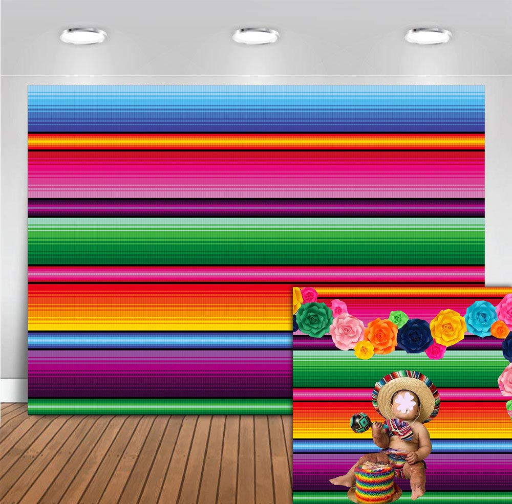 Fanghui 9x6ft Mexico Color Fiesta Theme Party Stripes Backdrop Great as Mexican Dress-up Luau Party Banner Photo Booth Background Summer Pool Birthday Party Decoration Supplies