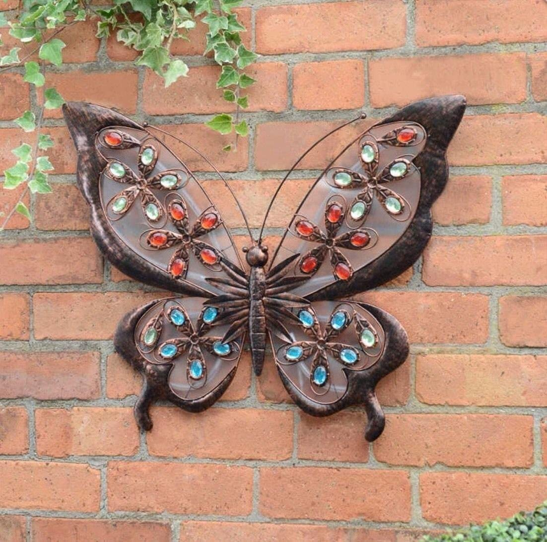 Solar Powered Metal Butterfly LED Light Garden Wall Art   Decor