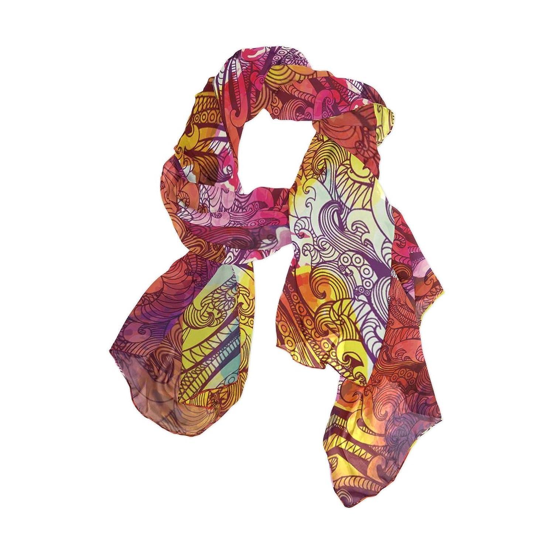 Lightweight Shawl Wrap Sheer Scarves,Art Colorful Leafs,Oblong Chiffon Scarf