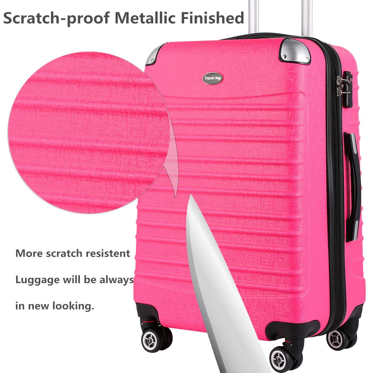 Hardside Carry On Luggage, Lightweight Expandable Spinner Carry Ons TSA Luggage Suitcase, 20 inches (HOT PINK) by Travel Joy (Image #6)