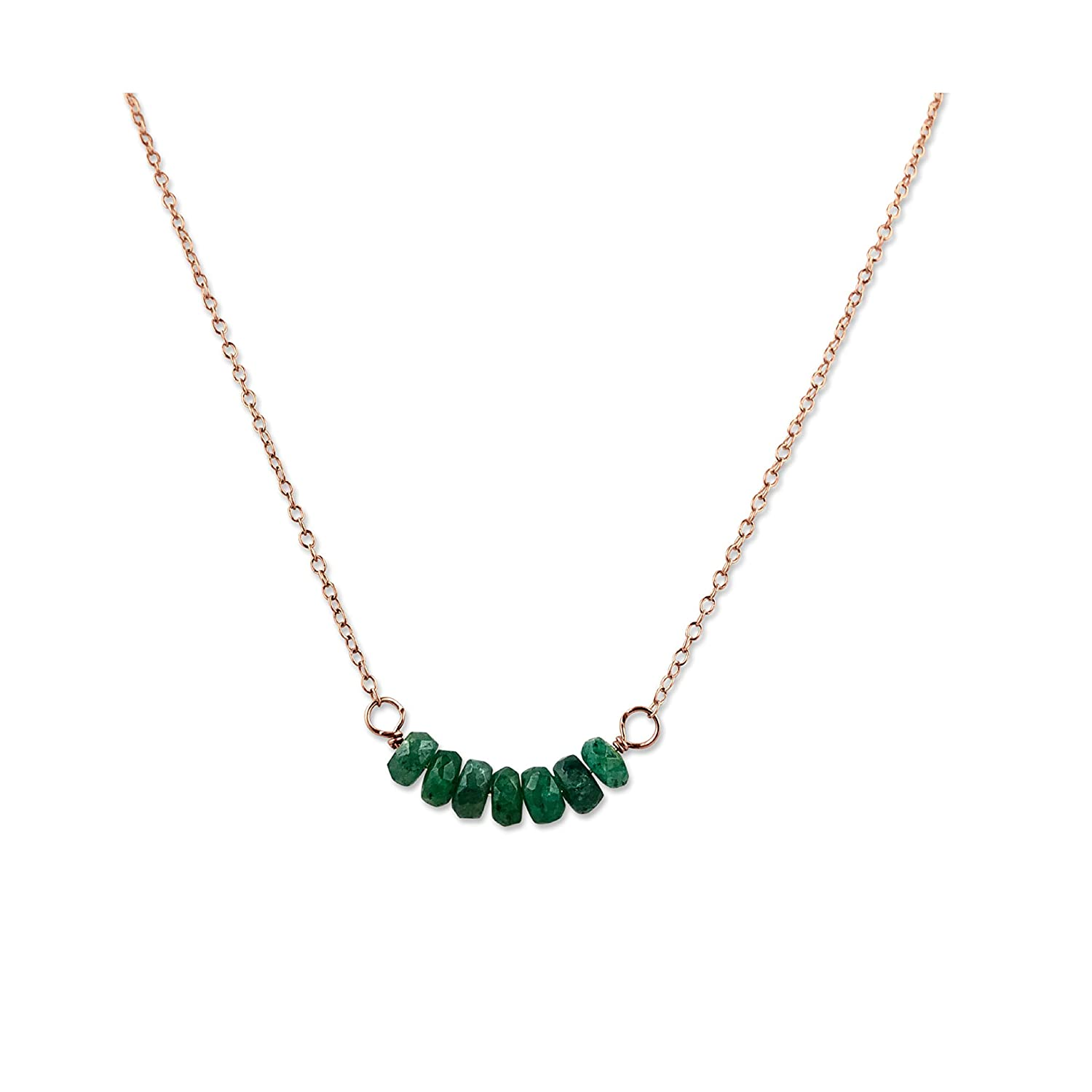 Dainty Gemstone Raw beads Choker Rose Gold filled EMERALD Beaded Pendant Sterling Silver Simple Delicate Layering Jewelry for Women