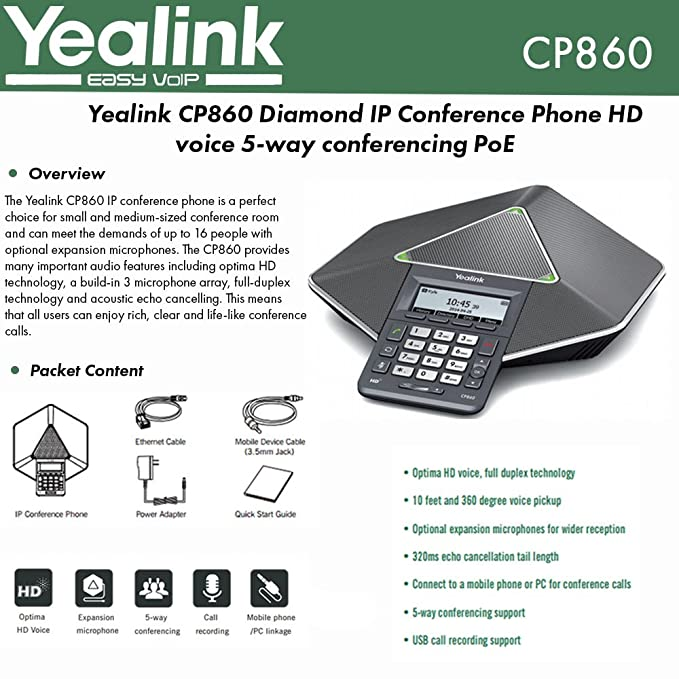 Amazon Com Yealink Cp860 Voip Conference Phone Office Products
