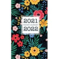 2021-2022 Pocket Calendar: Floral Cover | Two Year Calendar Small Size | Monthly 2 Year Appointment Planner 2021-2022…