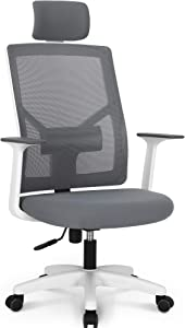 NEO CHAIR Office Chair Computer Headrest Desk Chair - Head Rest Business Ergonomic Mid Back Cushion Lumbar Support Wheels Comfortable Mesh Racing Seat Adjustable Swivel Rolling Executive, Grey-H