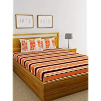 BIANCA 100% Cotton King Size Double Bedsheet with 2 Pillow Covers.