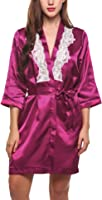 Avidlove Women's Robes Kimono Peacock and Blossoms Silk Nightwear Short Style