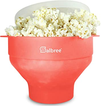 Microwave Popcorn Popper Silicone Maker Original Collapsible Bowl Salbree Lid