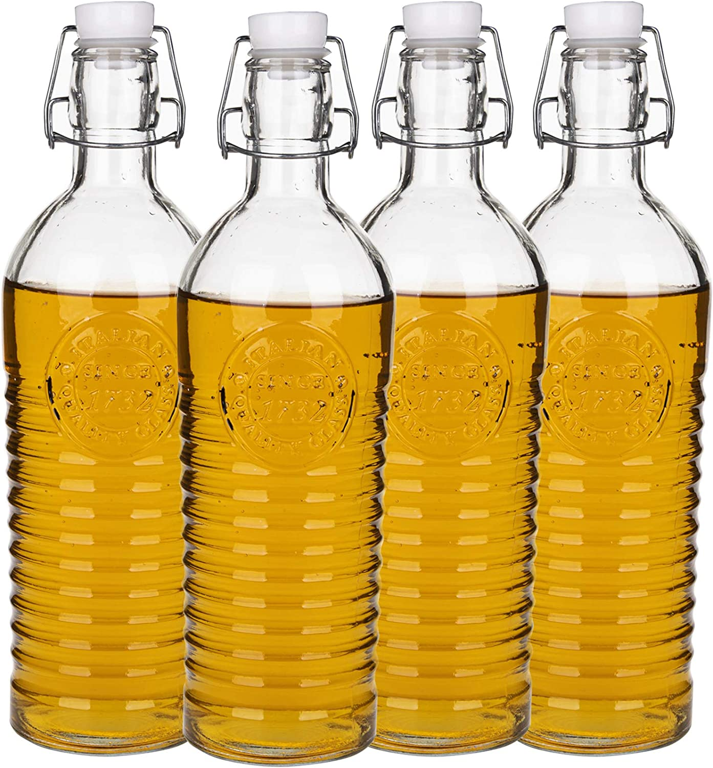 Nicunom 4 Pack Flip Top Glass Bottle, 40 Oz. / 1.2 Liter Clear Glass Pitcher Swing Top Brewing Bottle with Stopper for Beverages, Oils, Kombucha, Beer, Kiefer, Water, Soda, Airtight Seal & Metal Clamp