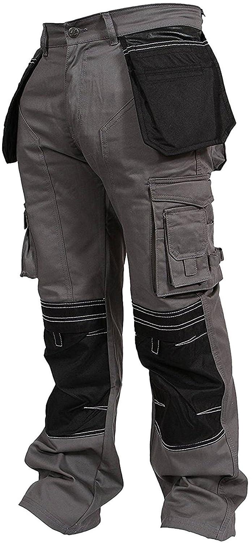 Newfacelook メンズカーゴパンツ ワーキングパンツ コーデュラ使用の膝ポケット B076QB75CC W34-L34|グレー グレー W34-L34