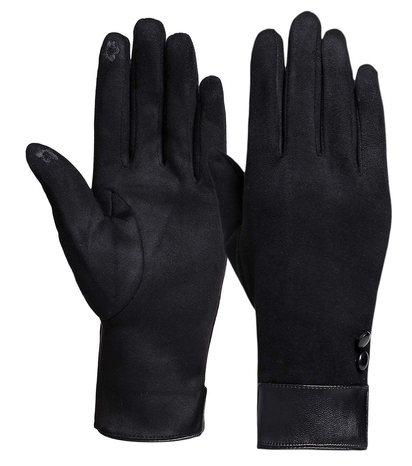 Womens Winter Warm Gloves Touch Screen Black Cold Weather Fleece Lining Gloves (091ZZ black gloves) W47346RWZJ16H