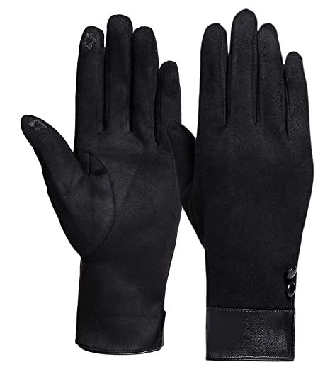 cd72d64c0 Winter Gloves for Women with Touch Screen Fingers Warm Texting Mittens  (Black-Button)