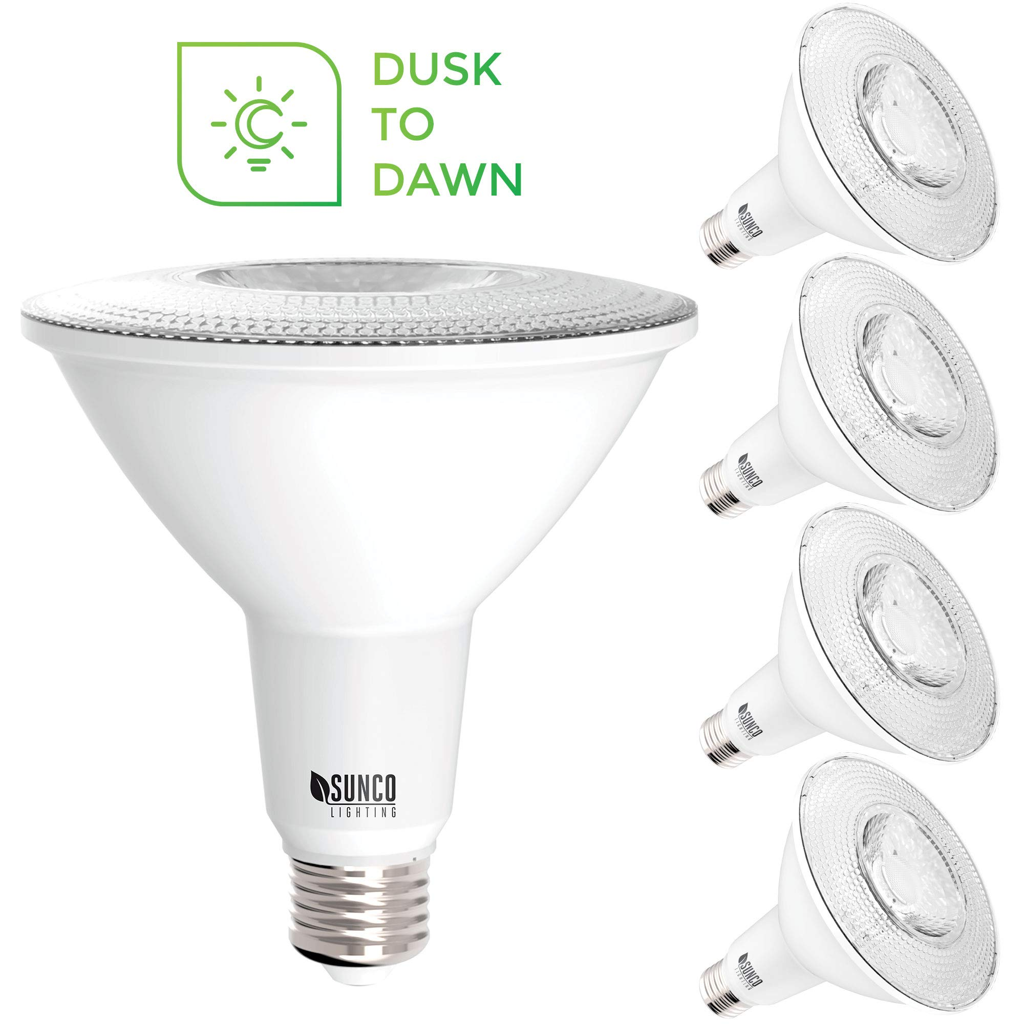 Sunco Lighting 4 Pack PAR38 LED Bulb with Dusk-to-Dawn Photocell Sensor, 15W=120W, 5000K Daylight, 1250 LM, Auto On/Off, Security Flood Light Indoor/Outdoor - UL by Sunco Lighting