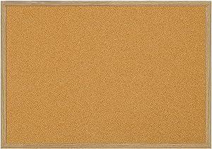 """MasterVision Bulletin Board, Cork Board, Pin Board with Oak Frame, 36"""" x 60"""""""